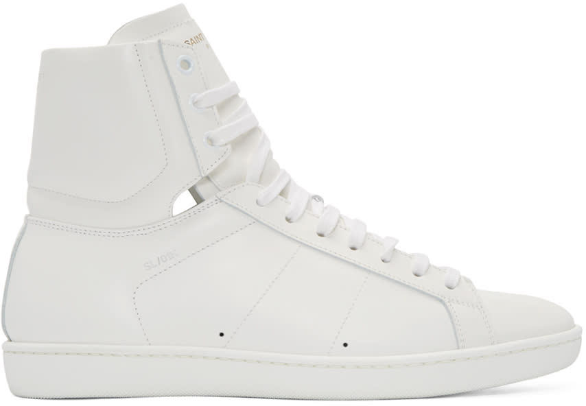 Saint Laurent White Sl-01 Court Classic High-top Sneakers