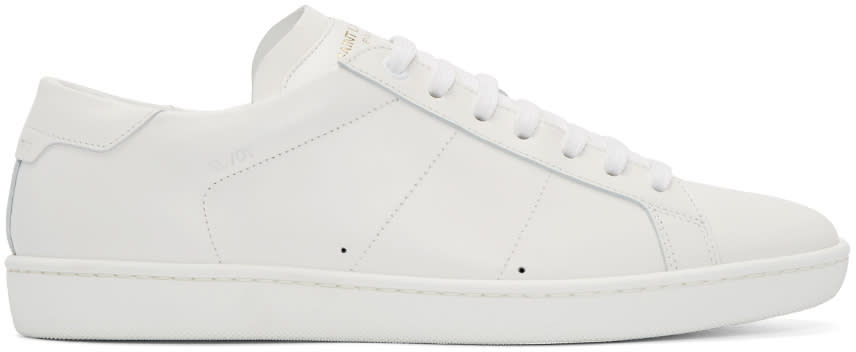 Saint Laurent White Leather Sl-01 Court Classic Sneakers