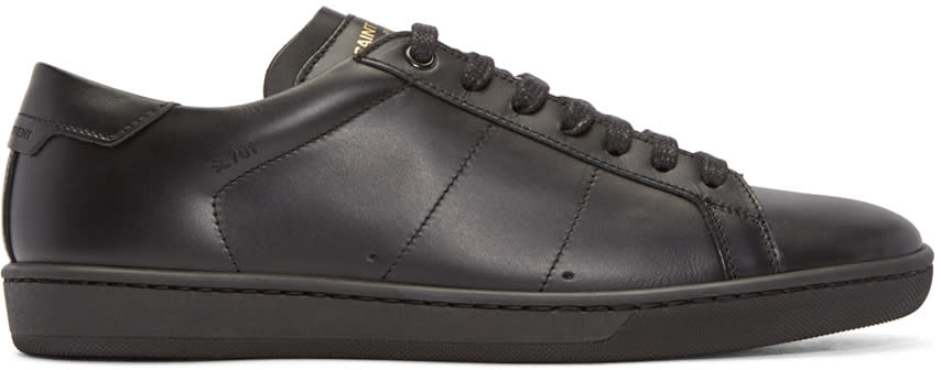 Saint Laurent Black Leather Sl-01 Court Classic Sneakers