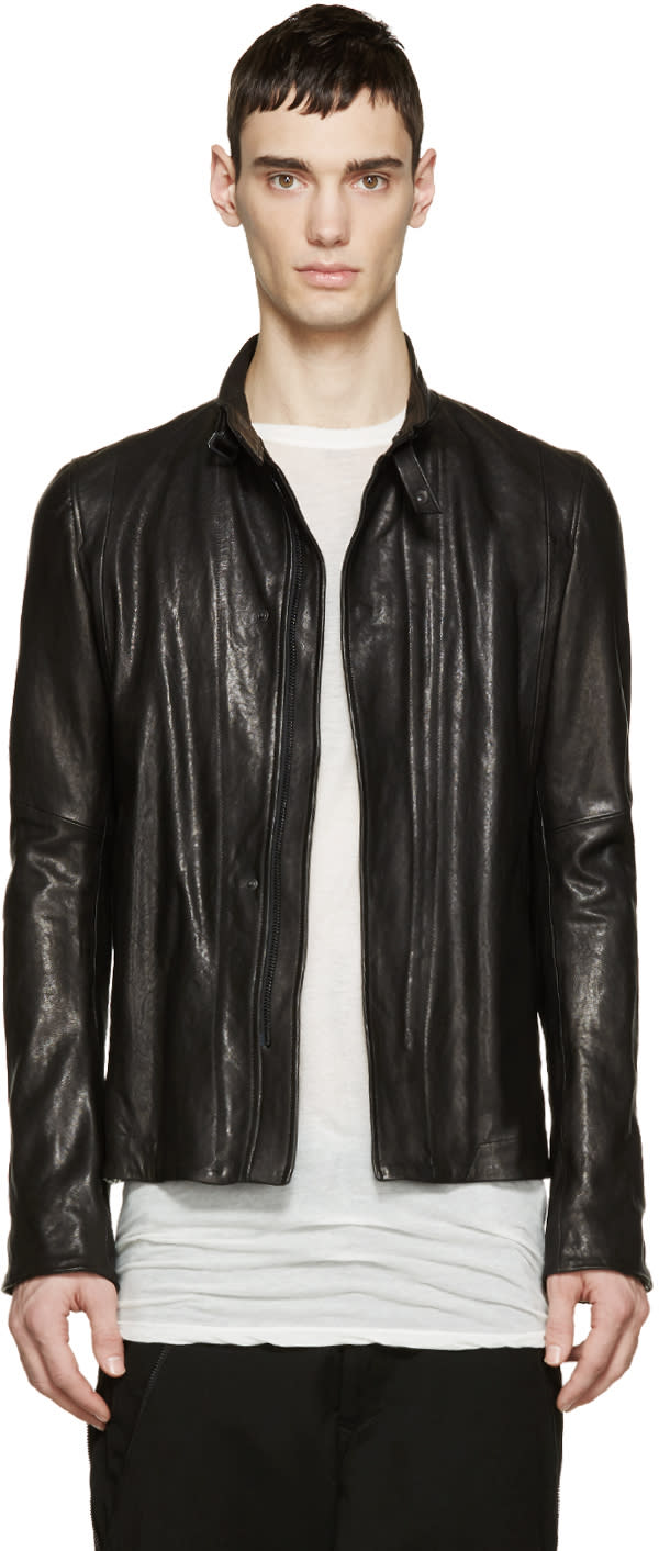 Julius Black Leather Zip-up Jacket