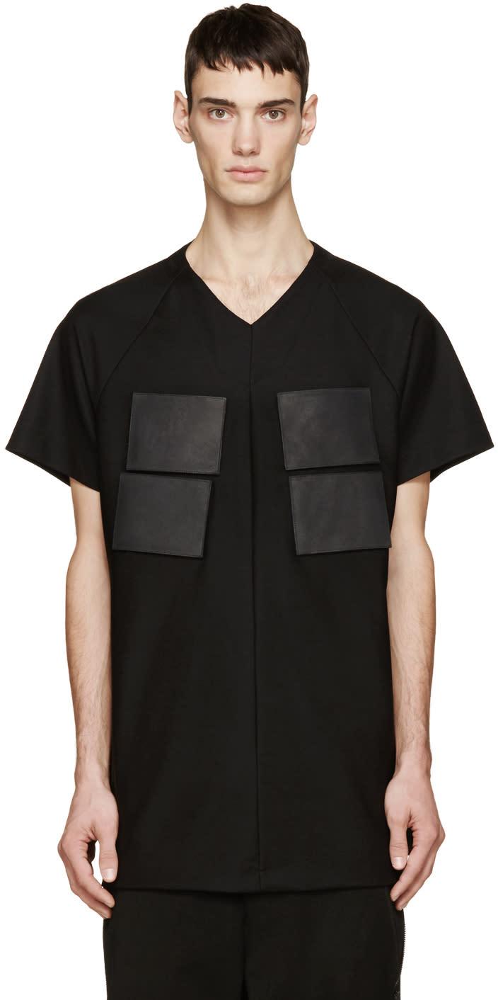 Julius Black Leather Patch T-shirt