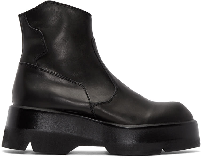 Julius Black Leather Split Boots