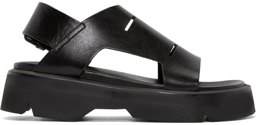 Julius Black Leather Sandals
