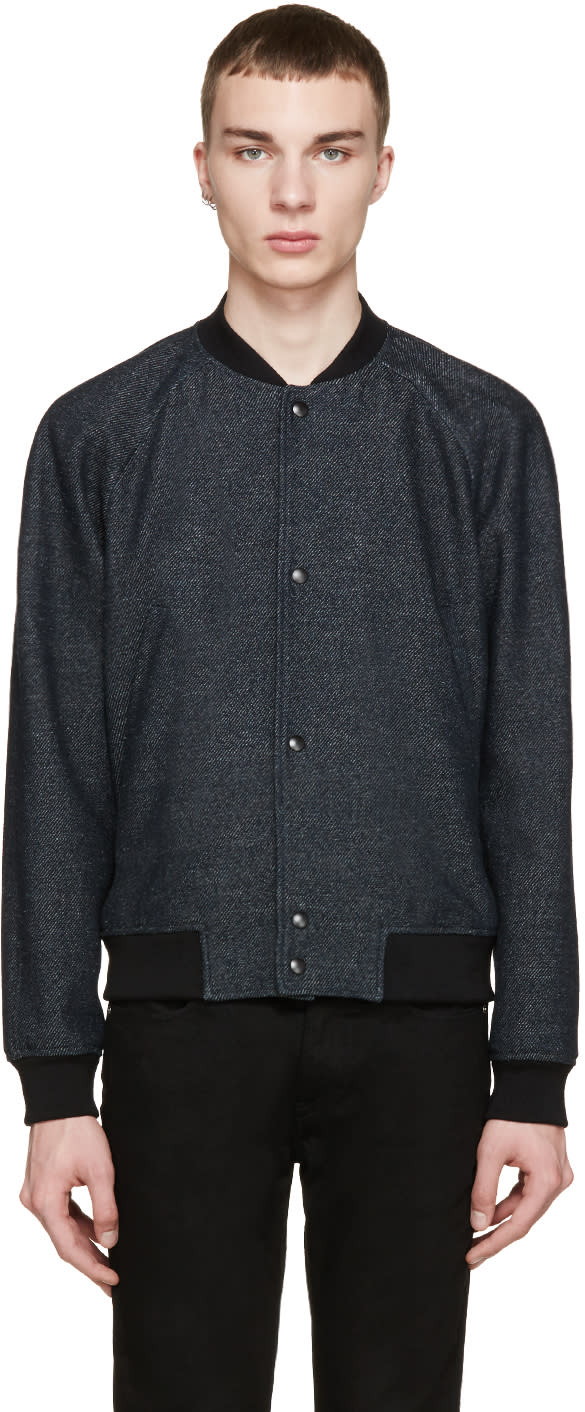 Ps By Paul Smith Navy Striped Bomber Jacket