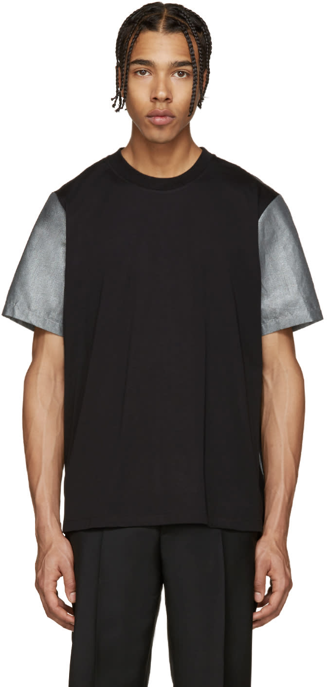 Ps By Paul Smith Black and Silver Panelled T-shirt