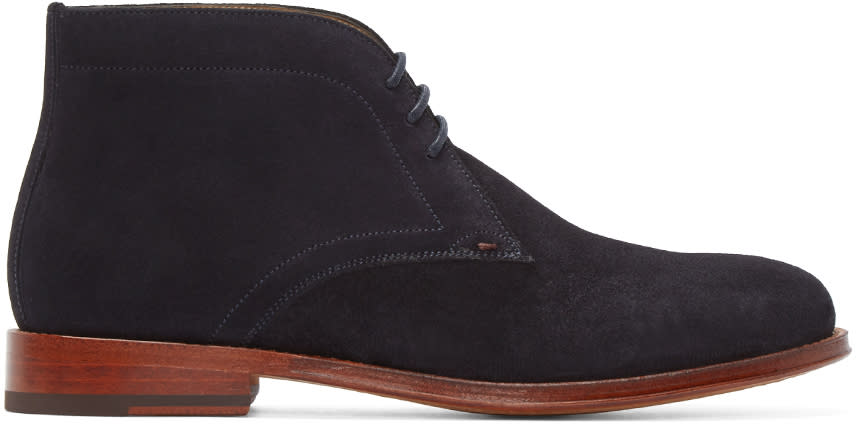 Ps By Paul Smith Blue Suede Morgan Boots