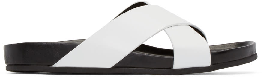 Woman By Common Projects White and Black Cross Strap Sandals