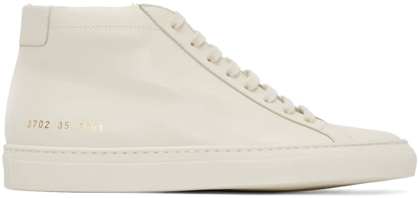 Woman By Common Projects Off-white Original Achilles Mid-top Sneakers