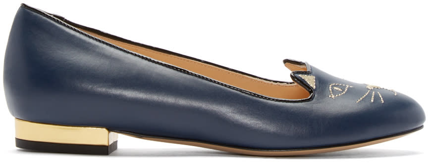 Charlotte Olympia Navy Leather Kitty Flats