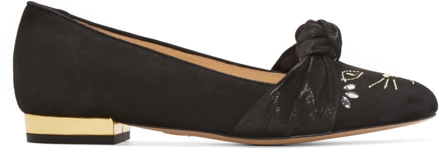 Charlotte Olympia Black Studded Eccentric Kitty Flats