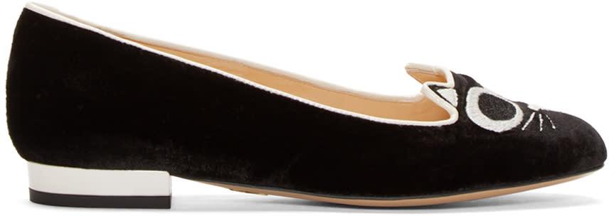 Charlotte Olympia Black Velvet Grunge Kitty Flats