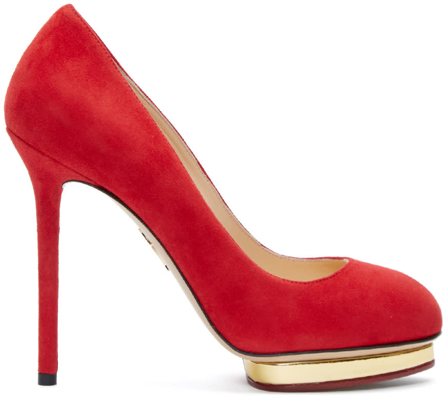 Charlotte Olympia Red and Gold Platform Dotty Pumps