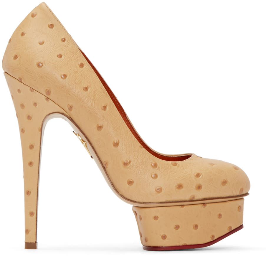 Charlotte Olympia Tan Ostrich-embossed Dolly Heels