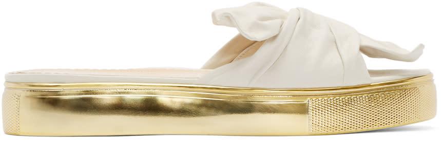 Charlotte Olympia Off-white Poolside Slider Sandals