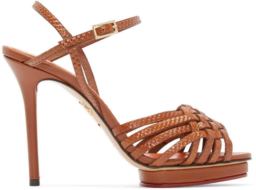 Charlotte Olympia Tan Leather Louise Sandals