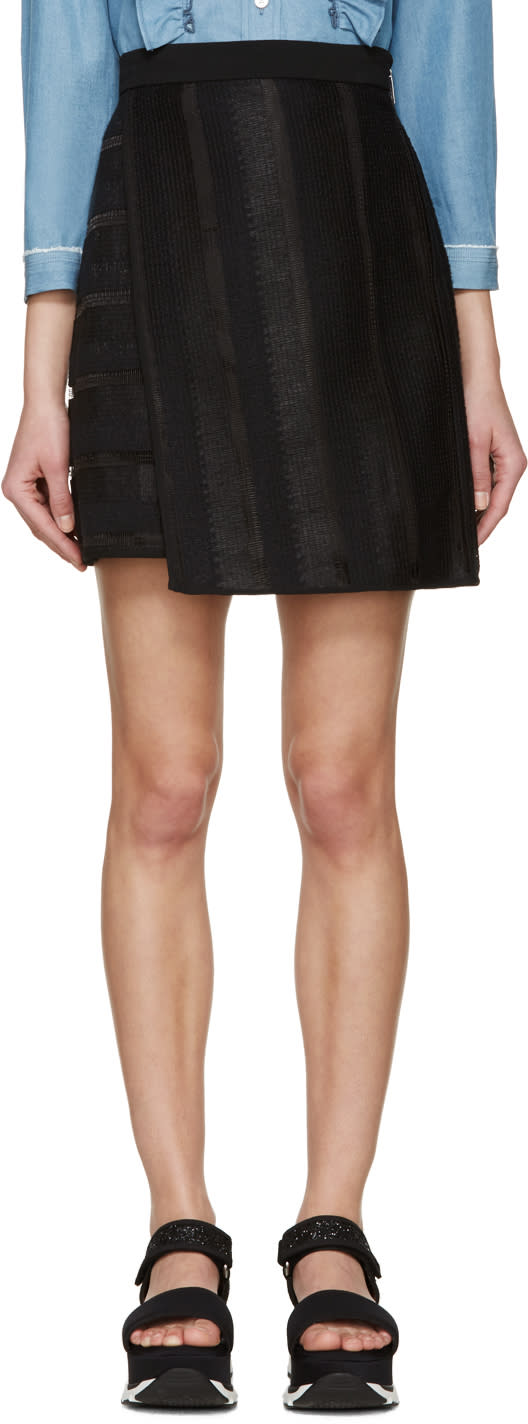 Msgm Black Raffia Short Skirt