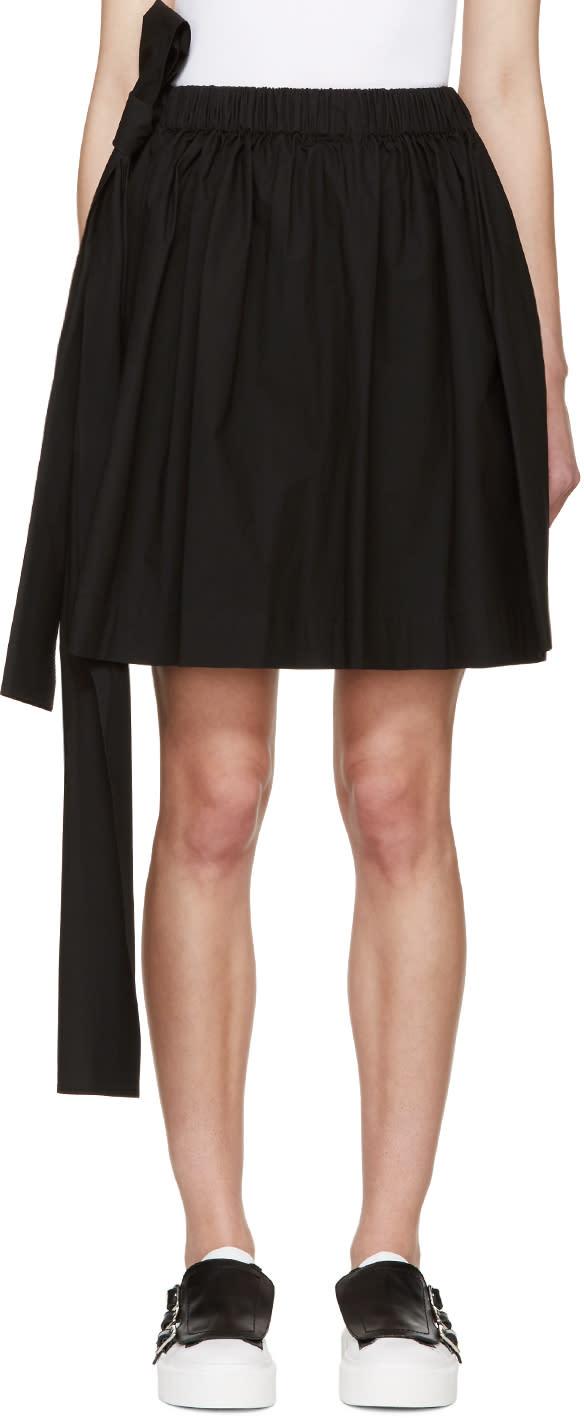 Msgm Black Poplin Bow Miniskirt