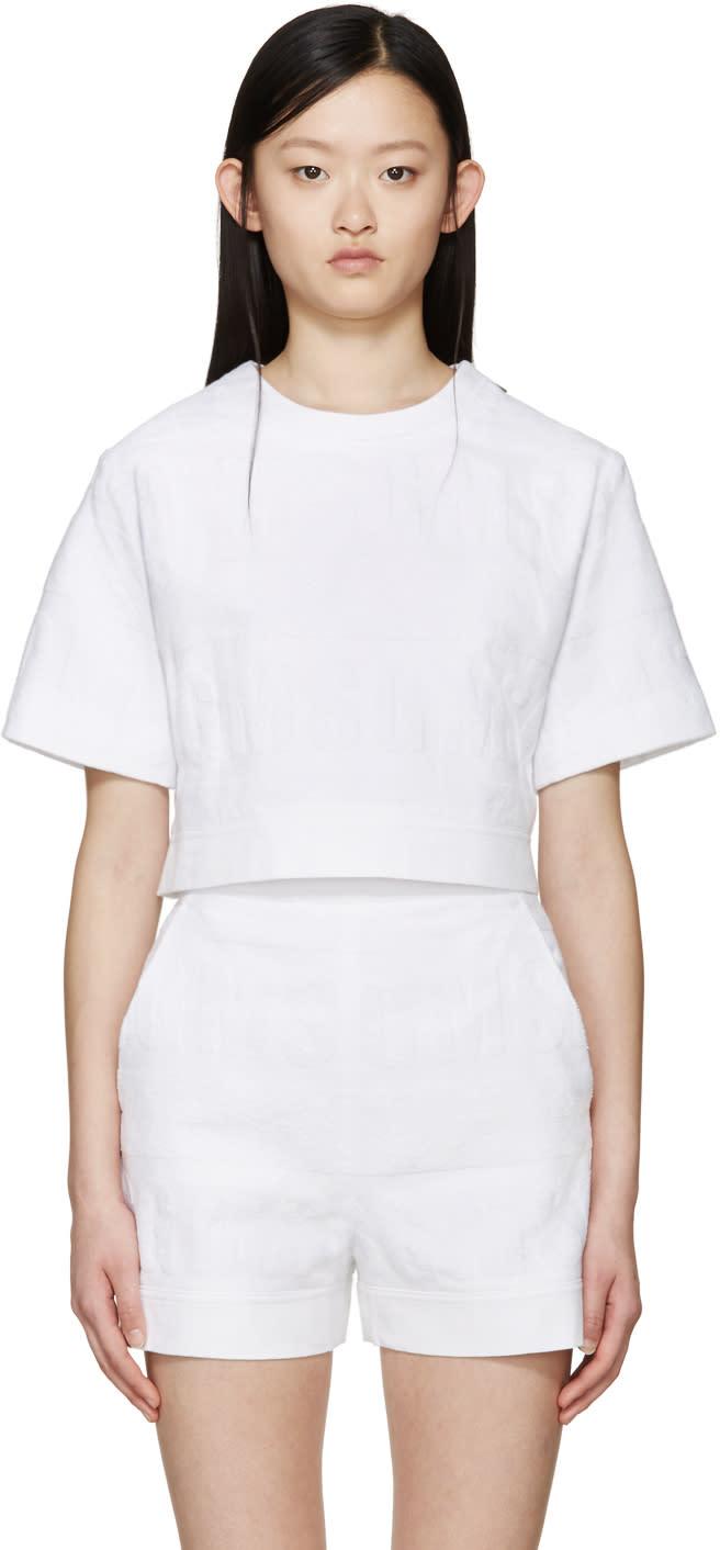 Msgm White Logo Terrycloth Sweatshirt