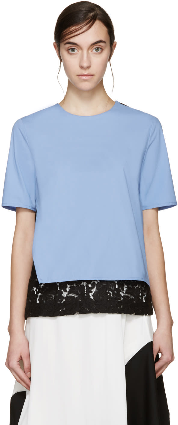 Msgm Blue and Black Lace Underlay Blouse