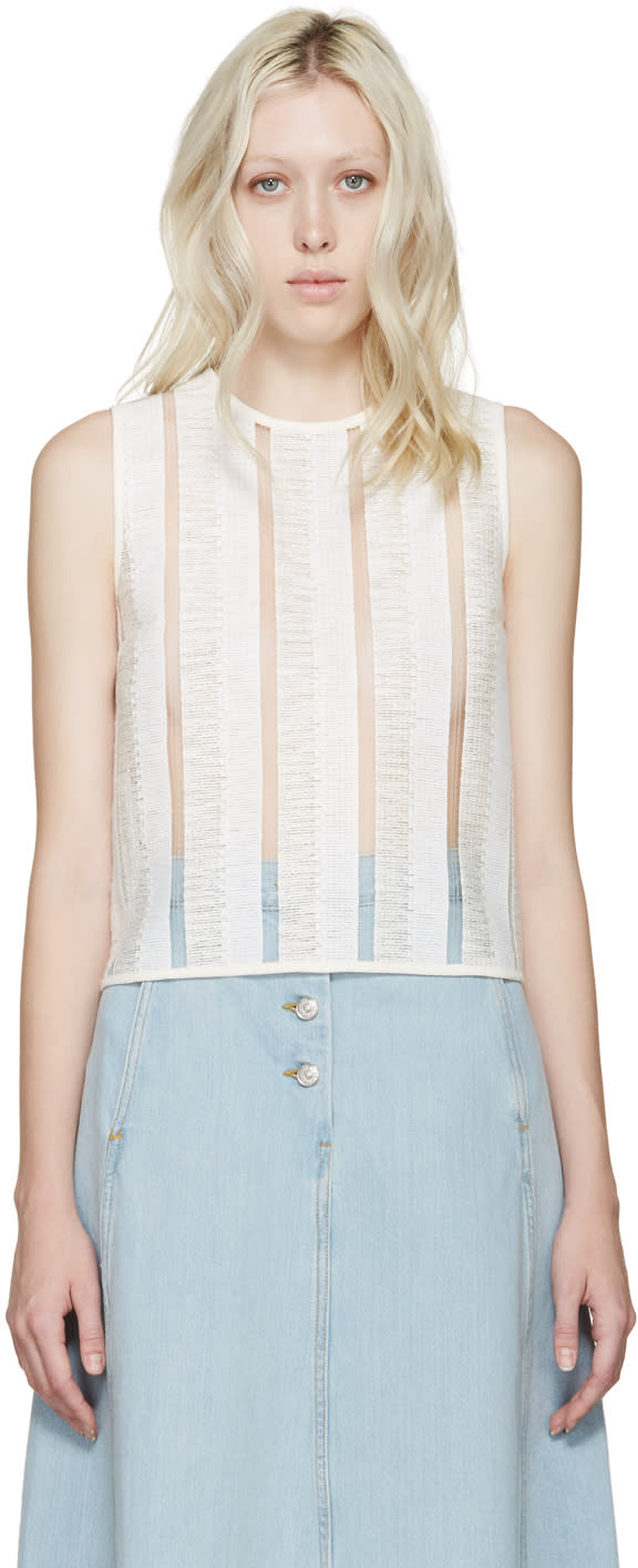 Msgm White Open-knit Raffia Top