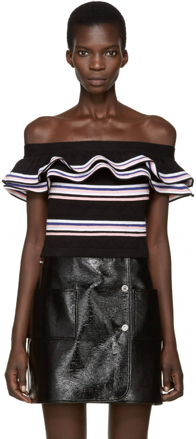 Msgm Black Ruffled Off-the-shoulder Top