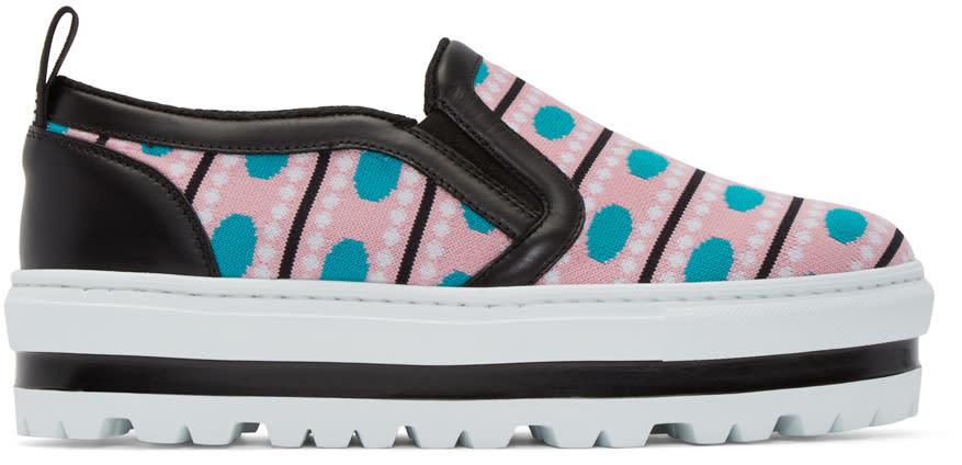 Msgm Multicolor Patterned Platform Slip-on Sneakers