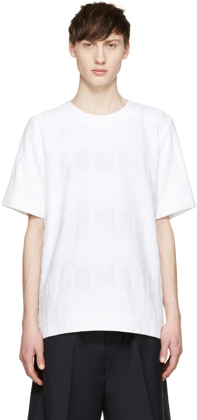 Msgm White Logo Terrycloth Pullover