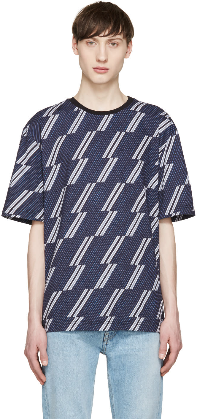 Msgm Navy and Grey Striped T-shirt