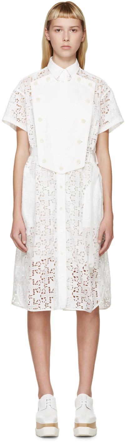 Sacai White Belted Star Lace Dress