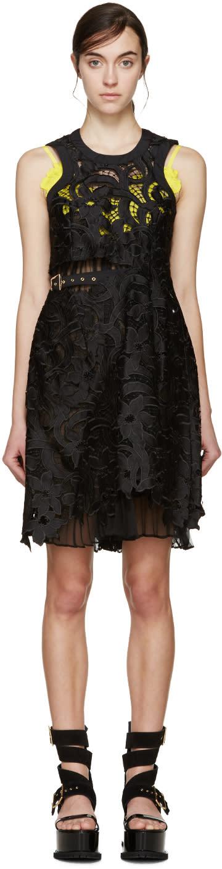 Sacai Black and Yellow Lily Lace Underlay Dress