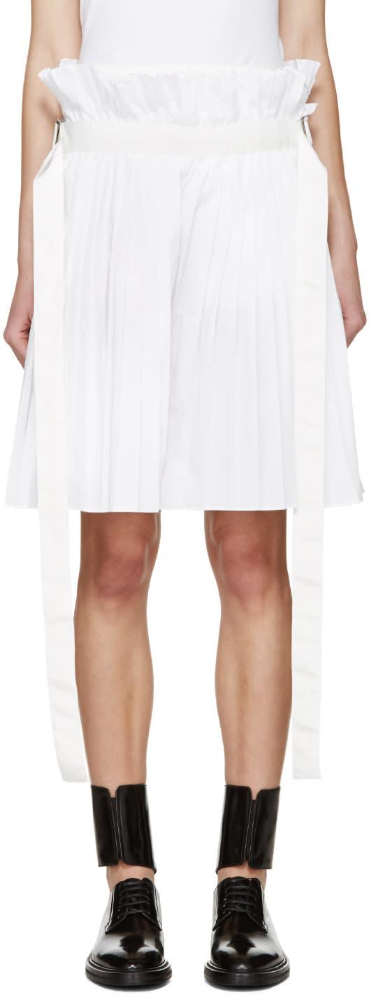 Sacai White Pleated Shorts