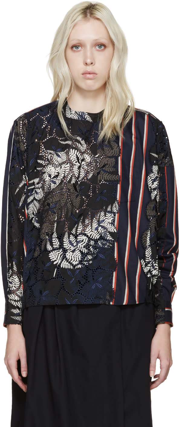 Sacai Navy and Orange Lace Striped Blouse