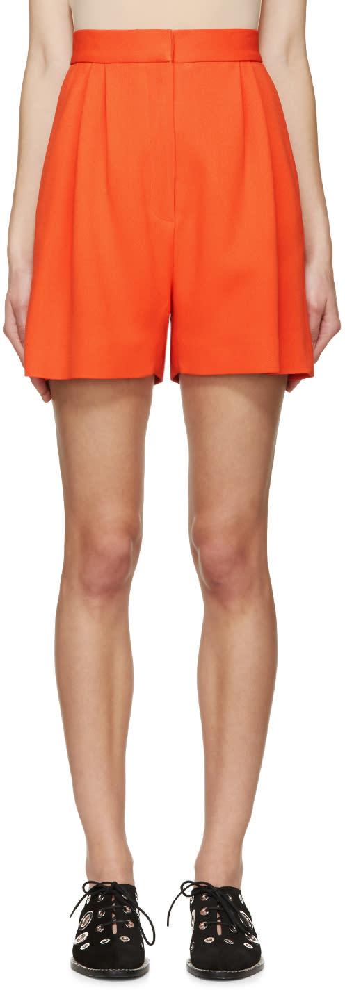 Mary Katrantzou Orange Pleated High-rise Shorts