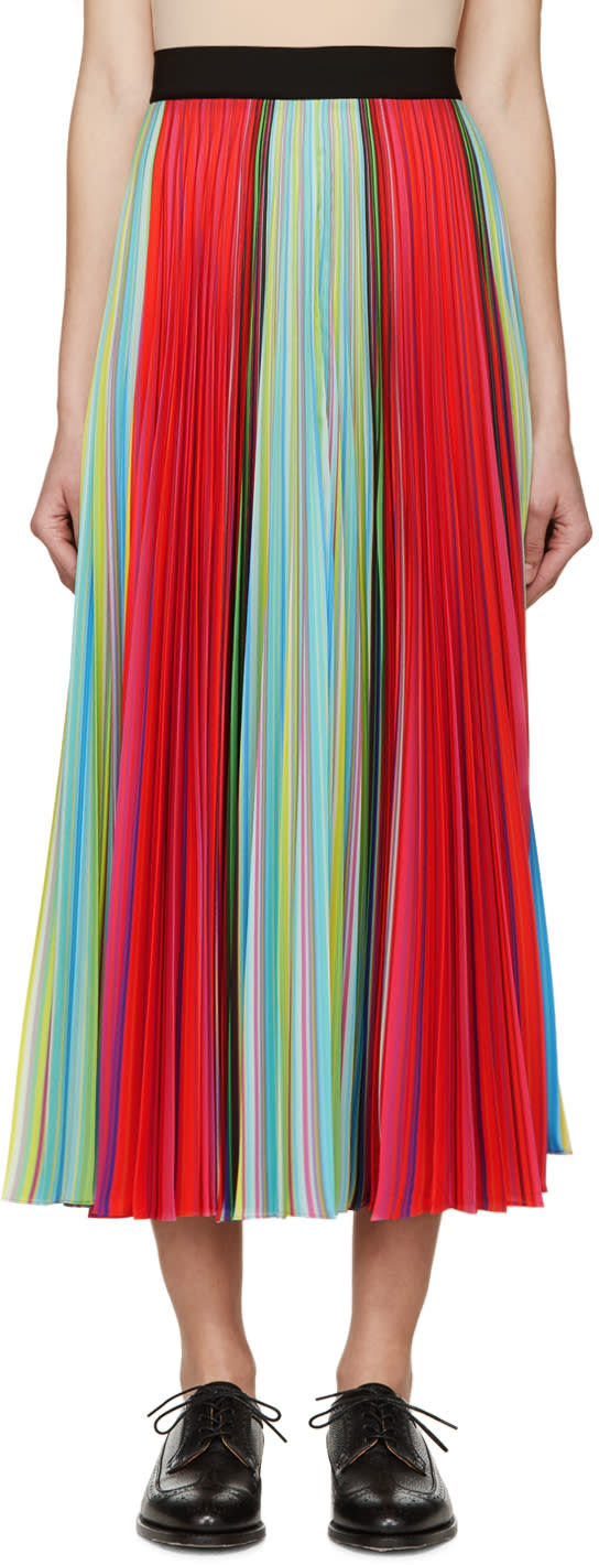 Mary Katrantzou Multicolored Striped Pleated Skirt