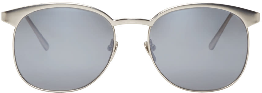 Linda Farrow Luxe Silver Horn-rimmed Sunglasses