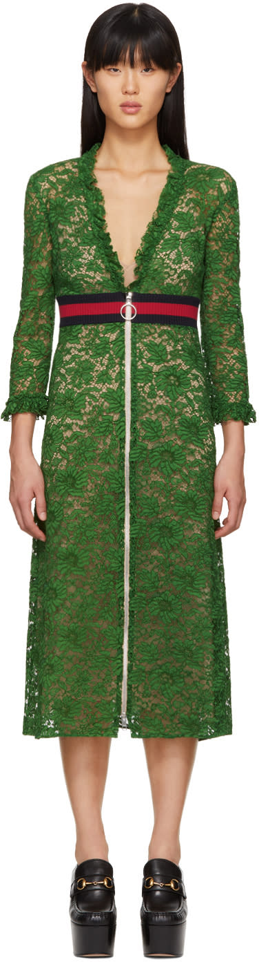 Gucci Green Lace Dress