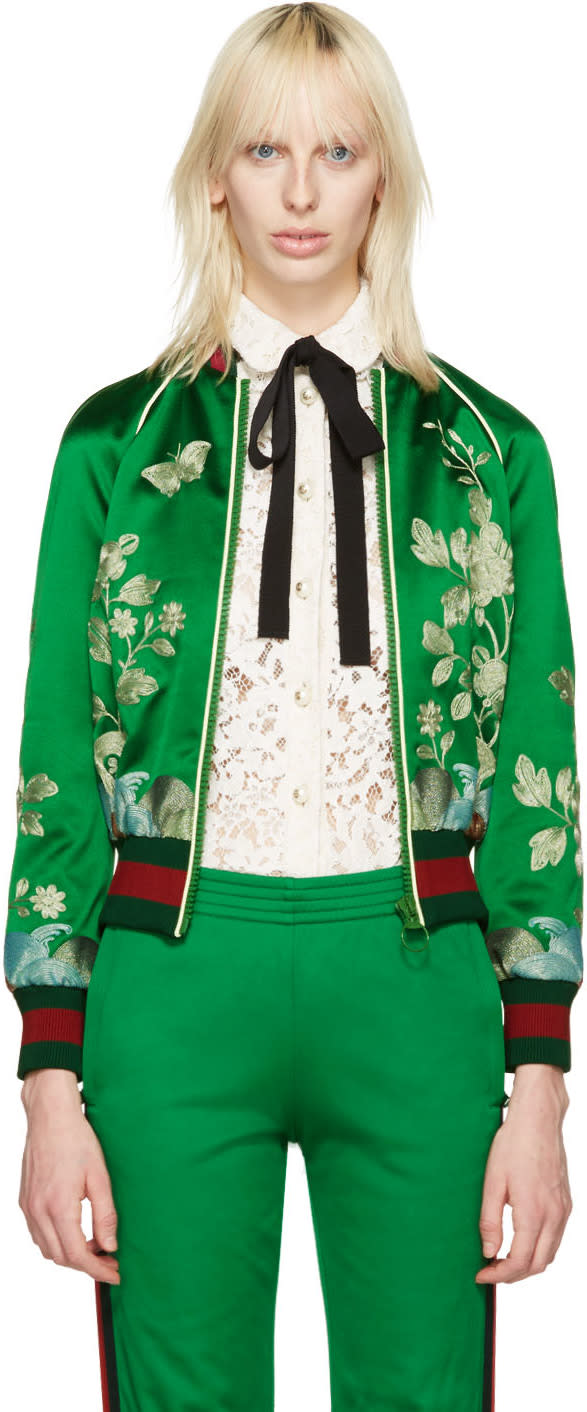 Gucci Green Silk Embroidered Bomber Jacket