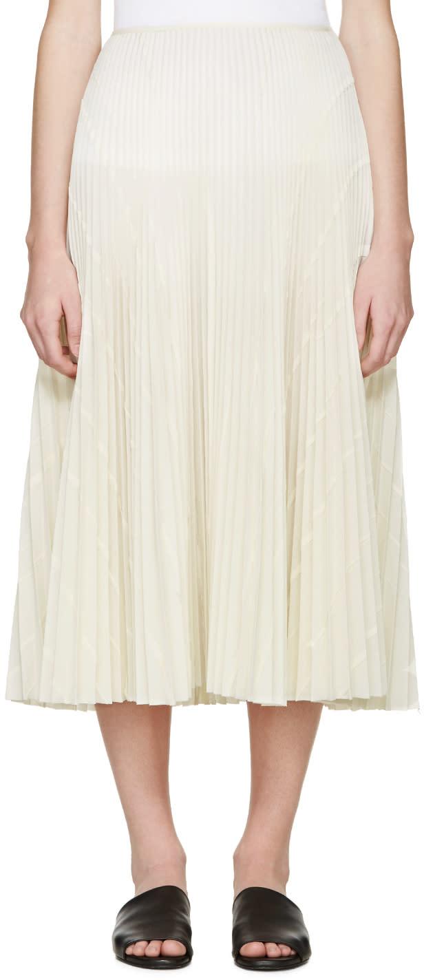 Cedric Charlier Cream Pleated Skirt