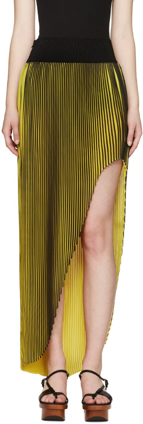 Stella Mccartney Black and Yellow Pleated Jeanne Skirt