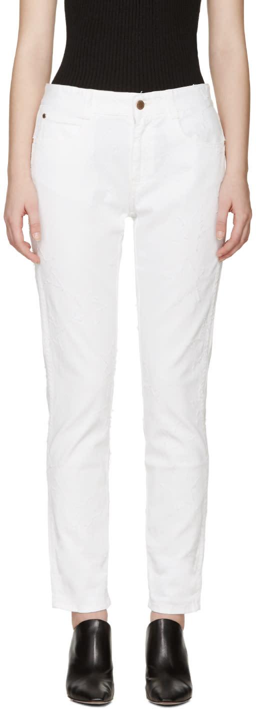 Stella Mccartney White Fringed Star Skinny Boyfriend Jeans