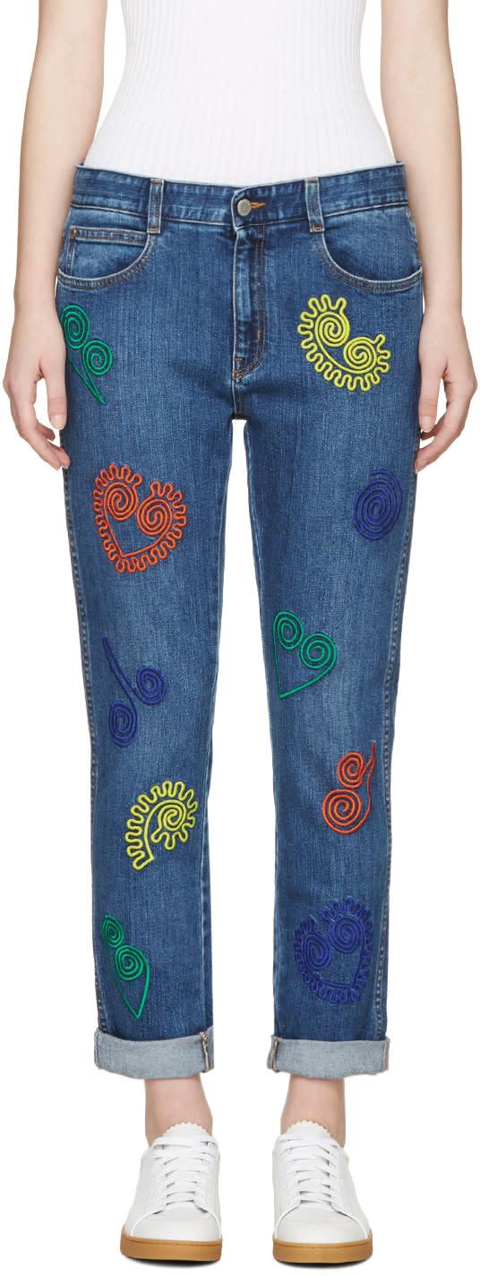 Stella Mccartney Blue Embroidered Skinny Boyfriend Jeans