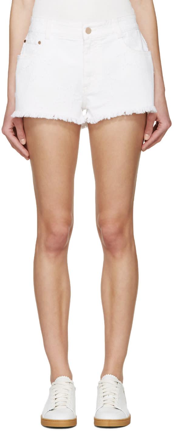 Stella Mccartney White Denim Fringed Star Shorts