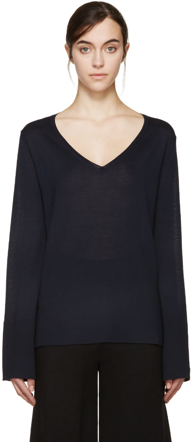 Stella Mccartney Navy Bell Sleeve Sweater