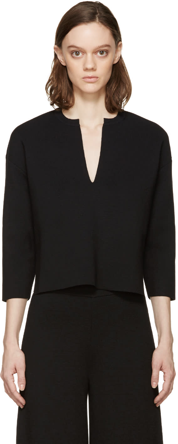 Stella Mccartney Black Vented Collar Sweater