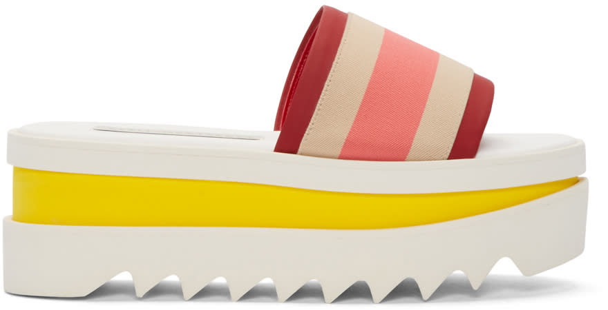 Stella Mccartney Multicolor Striped Platform Sandals