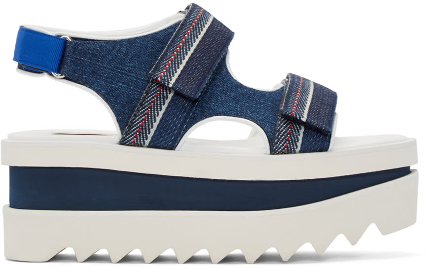 Stella Mccartney Navy Denim Velcro Platform Sandals