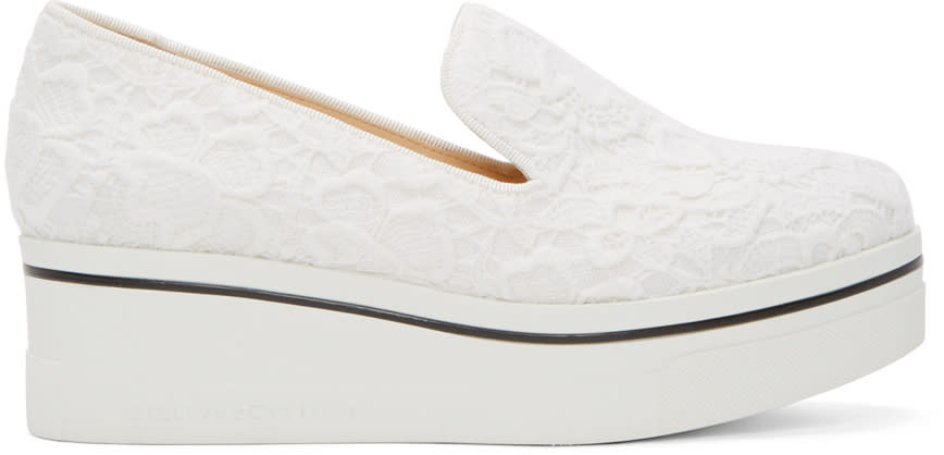 Stella Mccartney White Lace Platform Binx Sneakers