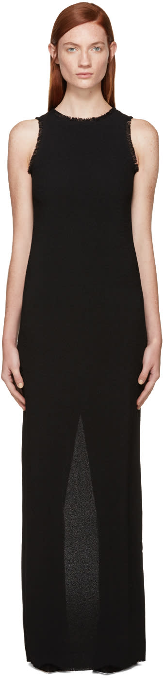 Nina Ricci Black Fringed Crepe Long Dress
