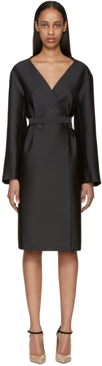 Nina Ricci Black Double-breasted Mikado Dress