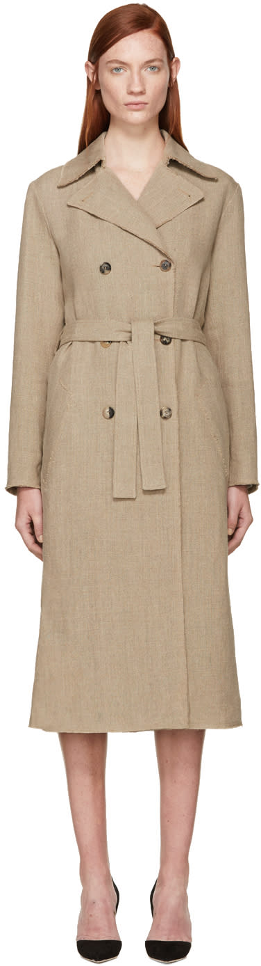 Nina Ricci Beige Linen Canvas Trench Coat